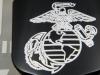 """""""USMC"""" Black Front Nose Badge (Detail)"""